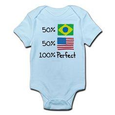 Brazil/USA Perfect Flag design Infant Bodysuit on CafePress.com
