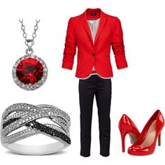 Loving the red!      Business Woman Meets Fashion, created by ginabina96 on Polyvore