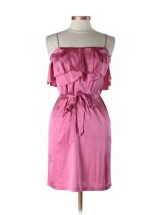 $24.95 REBECCA TAYLOR Pink Silk Ruffle Spaghetti Strap Dress Easy Chic Sz 8 M New Retail 345 #REBECCATAYLOR #Shift #Cocktail