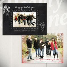 Christmas Card Template: Blackboard Holiday A - 5x7 Holiday Card Template for Photographers on Etsy, $8.00