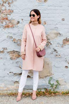 Cuyana coat and dusty rose mini saddle bag