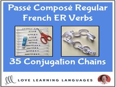 Passé Composé French ER Verbs - Primary French conjugation chains - Cut and pasteThis literacy center or independent work activity for primary core French or primary French immersion is a fun, hands-on way for your students to . French Verbs, Everyday Activities, Work Activities, Passe Compose French, Verb Conjugation, Core French, French Resources, French Immersion, Cut And Paste