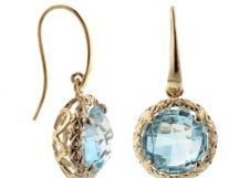 Blue Topaz$1300.00 14 KT YG 6.5 CT LARGE ROUND BLUE TOPAZ FRENCH WIRE DANGLE EARRINGS