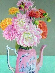 Dahlias in Pink Teapot - painting by Kaffe Fassett Gallery Fabrics Needlepoint Mosaic Patchwork Art Floral, Motif Floral, Henri Matisse, Jig Saw, Gravure Photo, Pink Teapot, Still Life Flowers, Painting Inspiration, Design Inspiration