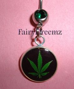 Pot Leaf Marijuana Weed Belly Navel Ring Jewelry by FairyDreemz, $9.00