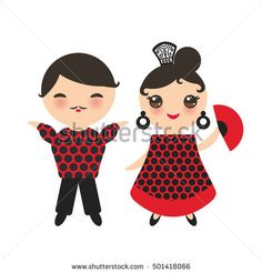 Spanish flamenco dancer set. Kawaii cute face with pink cheeks and winking eyes. Gipsy girl with fan and boy, red black white dress, polka dot fabric, Isolated on white background. Vector