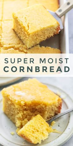 This Super Moist Cornbread recipe is the only way to go if you re a cornbread lover Great with chili roast chicken turkey pork soups stews or even jams and jellies Top it with honey or butter for an extra dose of YUM Southern Cornbread Recipe, Homemade Cornbread, Sweet Cornbread, Cornbread Recipe With Canned Corn, Moist Cornbread Recipe Sour Cream, Moist Cornbread Recipe Jiffy, How To Make Cornbread, Cornbread Muffins, Best Healthy Cornbread Recipe
