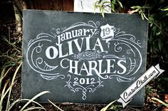 Wedding chalkboard art.
