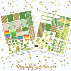 New!!! St. Patrick's Day Printable Planner Stickers Mini Kit 125 Stickers pdf and 2 jpeg Erin Condren Life Planner Kikkik Filofax