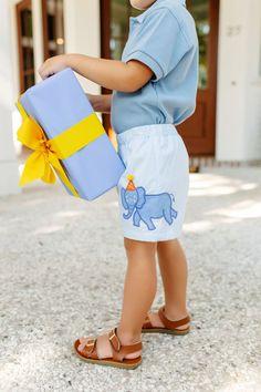 Shelton Shorts - Buckhead Blue with Elephant Applique - The Beaufort Bonnet Company Boy Birthday, Happy Birthday, Beaufort Bonnet Company, Elephant Applique, Little Boy Fashion, Holidays And Events, Bird Feathers, Toddler Boys, Little Boys