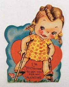 Unused Vintage Valentine Card Cute Girl Flower Dress Stilts Grass Heart Cloud