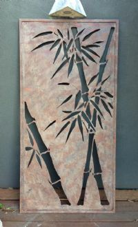 Steel Rust Look Wall Hanging - Bamboo Design   Ideal as a feature on a wall  Measures 1200mm x 600mm $95 www.balimystique.com.au
