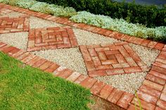 images of concrete and brick paths Brick Walkway, Brick Path, Brick Garden, Garden Paths, Walkway Ideas, Brick Sidewalk, Paving Ideas, Red Brick Paving, Garden Paving