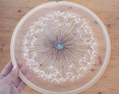 """Make a Wish Dandelion Tulle Embroidery Hoop Art - Bohemian Wedding Decor - Bridesmaid Gift - Hand Embroidery by Velvet Meadow - Size 10.5"""""""