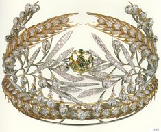 Artemisia's Royal Jewels: Russian Royal Jewels Empress Maria Feodorovna (wife of Paul I) commissioned a diadem that would remind of the Russian fields. Duval Brothers created a diadem of oak and laurel leaves, bordered by sheaves of wheat. Royal Crown Jewels, Royal Crowns, Royal Tiaras, Royal Jewelry, Tiaras And Crowns, Russian Jewelry, Faberge Eier, Maria Feodorovna, Bijoux Art Nouveau
