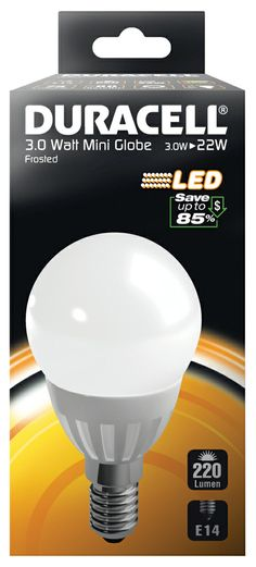 DRLEDM4 Duracell LED Frosted Mini Globe Light Bulb - E14 3W - http://www.duracelldirect.co.uk/pno/drledm4.html
