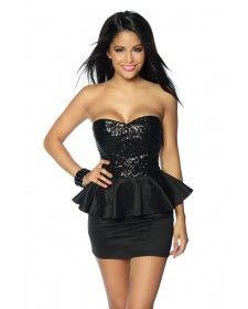6ad6069e66ed Sexi abito nero fascia con paillettes Cerimonia discoteca sera sexy  matrimonio elegante tubino dress peplum 18