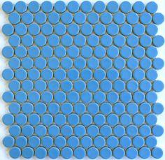 ModDotz Spa Blue porcelain penny round tile for bathroom tile, kitchen backsplash and flooring tile