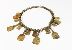 Orientalism 1940s Dangle Brass Necklace Choker by estatechicago, $95.00