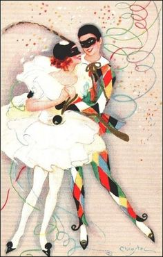 commedia dell'arte par les grands peintres - Arlequin et Colombine Sofia Chiostri   (1898-1945)