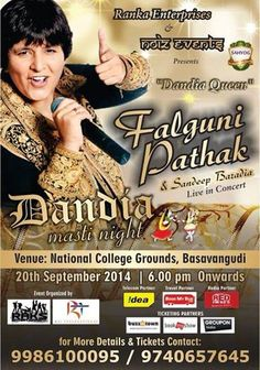 Bookmybus.com Official Travel Partner for Falguni Pathak Live on 20th September 2014 at National College Grounds Basavangudi, Bangalore.