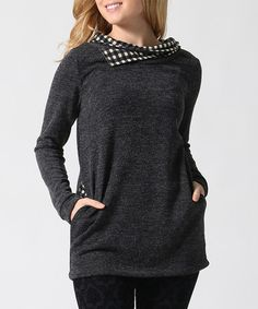 Look what I found on #zulily! Black Plaid-Contrast Cowl Neck Tunic #zulilyfinds