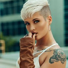 "2,757 Likes, 25 Comments - Short Hair Pixie Cut Boston (@nothingbutpixies) on Instagram: ""What did you see first on @kryptogirl17.. Her pixie or her ink? ✌️ @nothingbutpixies"""