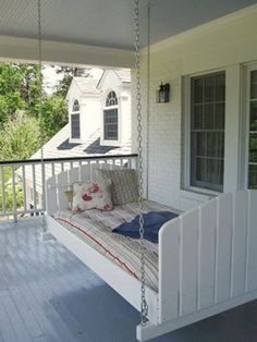 Whats better then a porch swing? A porch bed! Whats better then a porch swing? A porch bed! Whats better then a porch swing? A porch bed! Outdoor Spaces, Outdoor Living, Outdoor Sheds, Porch Bed, Porch Swings, Diy Porch, Diy Swing, Swing Beds, Sweet Home