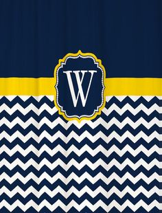 Shower Curtain Chevron YOU CHOOSE COLORS 70  74 78 84 88 or 96 inch Extra Long Custom Monogram Personalized for You Shown Navy Yellow Fabric