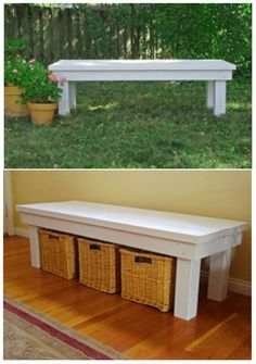 DIY bench tutorial. Be great by the front door for shoes