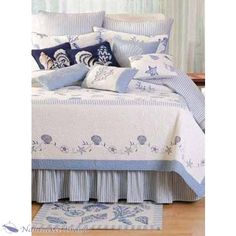 Treasures By The Sea Queen Quilt bedding, treasures, seas, queens, beach hous, beach theme, blue quilts, bedroom, blues