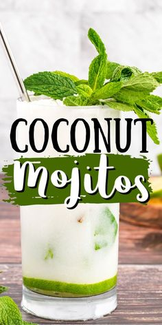 This refreshing Coconut Mojito is made with fresh cooling mint, coconut rum, coconut cream and club soda. A delicious and tropical cocktail for summer! #cocktails #mojito #coconutmojito #rummojito #coconutrum #coconut #drinks #summerdrinks #summercocktails #bbq #amandascookin Party Food And Drinks, Bar Drinks, Non Alcoholic Drinks, Beverages, Coconut Mojito, Coconut Drinks, Coconut Oil, Festive Cocktails, Summer Cocktails