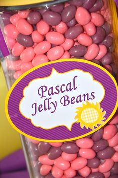 Guess how many jelly beans deep purple, violet, pink & yellow