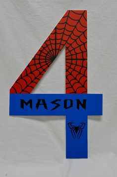 Spiderman - Personalized Number Birthday Sign - Great for Photo Prop or Decoration