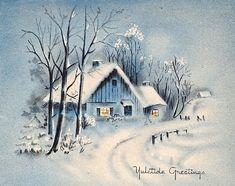 Risultati immagini per landscape christmas scenes painting Vintage Holiday Postcards, Vintage Christmas Images, Christmas Pictures, Vintage Images, Holiday Images, Vintage Cards, Holiday Cards, Watercolor Christmas Cards, Christmas Drawing