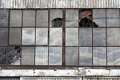 Abandoned Factory - Wall Of Windows Royalty Free Stock Photography ...