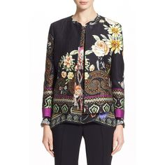 Etro Paisley & Floral Print Cotton Blend Jacket (126.940 RUB) ❤ liked on Polyvore featuring outerwear, jackets, black, black long sleeve jacket, black floral jacket, flower print jacket, floral jacket y etro