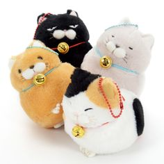 "The kitties of the Hige Manjyu series—the squinting Mi-sama, the unimpressed Kuromame, the wise-looking Hotoke, and Fuku-nyan, who is looking adorably wonky with his tongue out—have everything we love about cats and even more, as they don't shy away from pettings like their real counterparts might~ They are palm-sized plushies standing 3.5"" tall, super soft and round like fresh bread. They also come with a ball chain matching the color of the cord of the little bell on their neck to keep you…"