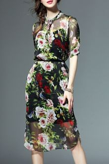 Belted Floral Dress and Cami Dress Suit