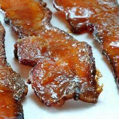 Bacon candy - thick cut bacon coated in brown sugar baked at 325 for 20 - 25 mins can add cayenne pepper or cinnamon for xtra flavor