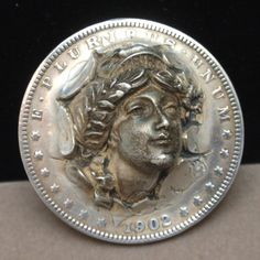 Miss Liberty Pop-Out Repousse 1902 Dollar Coin with Pat # Made into Brooch Pin