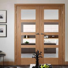 Shaker oak french door pair, stylish and cost effective. #shakerstyledoor #internalglazeddoor #oakglazeddoor