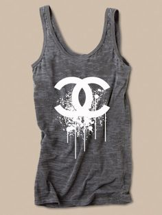 Chanel Splatter Logo Womens Tank in Burnout by CaliShirtsandMore, $22.00