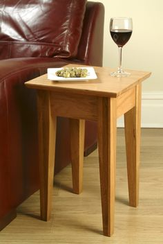 Delicieux Solid Oak Side Table   Shaker. Picture Coffee And Church Bulletin Instead.