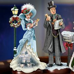 Music Figurines & Sculptures - Thomas Kinkade Here We Come A-Caroling Figurine Collection