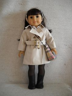 Classic Trench Coat O/F, 8pcs: Coat, Blouse, Skirt, Necklace, Headband, Shoulder Bag, Stockings & Boots! by Frenchieandme on Etsy   $47.00