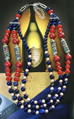 View and buy your Christmas presents at ArtlloydDesign on Etsy.com Agate Necklace, Beaded Necklace, Stunning Wallpapers, Lapis Lazuli, Christmas Presents, Style Inspiration, Pearls, Stuff To Buy, Etsy