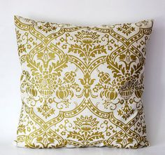 Pillow cover solid gold damask print on decorative covers - throw pillows - shams - 18x18 by pillowlink