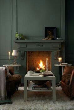 Little Greene - Livid. Love the fire surround painted same as the wall and trim