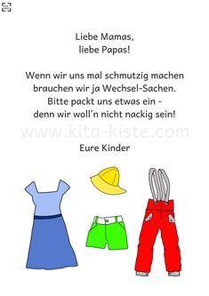 """Aushang für Wechsel-Sachen in #kindergarten und #krippe - auch im Set mit """"Sonnencreme und Sonnenhut"""" und dem """"Schmutz""""-Spruch"""